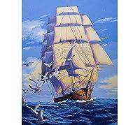 大人の 航海のためのデジタル大人キットによるDIYの油絵 手描きの壁画描画カラフルなキャンバスとブラシ装飾ギフト40x50CM