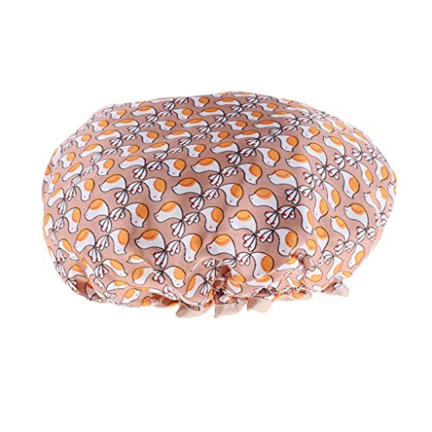 D DOLITY シャワーキャップ ヘアキャップ 帽子 女性用 入浴 バス用品 二重層 防水 全3色 - ゴールド