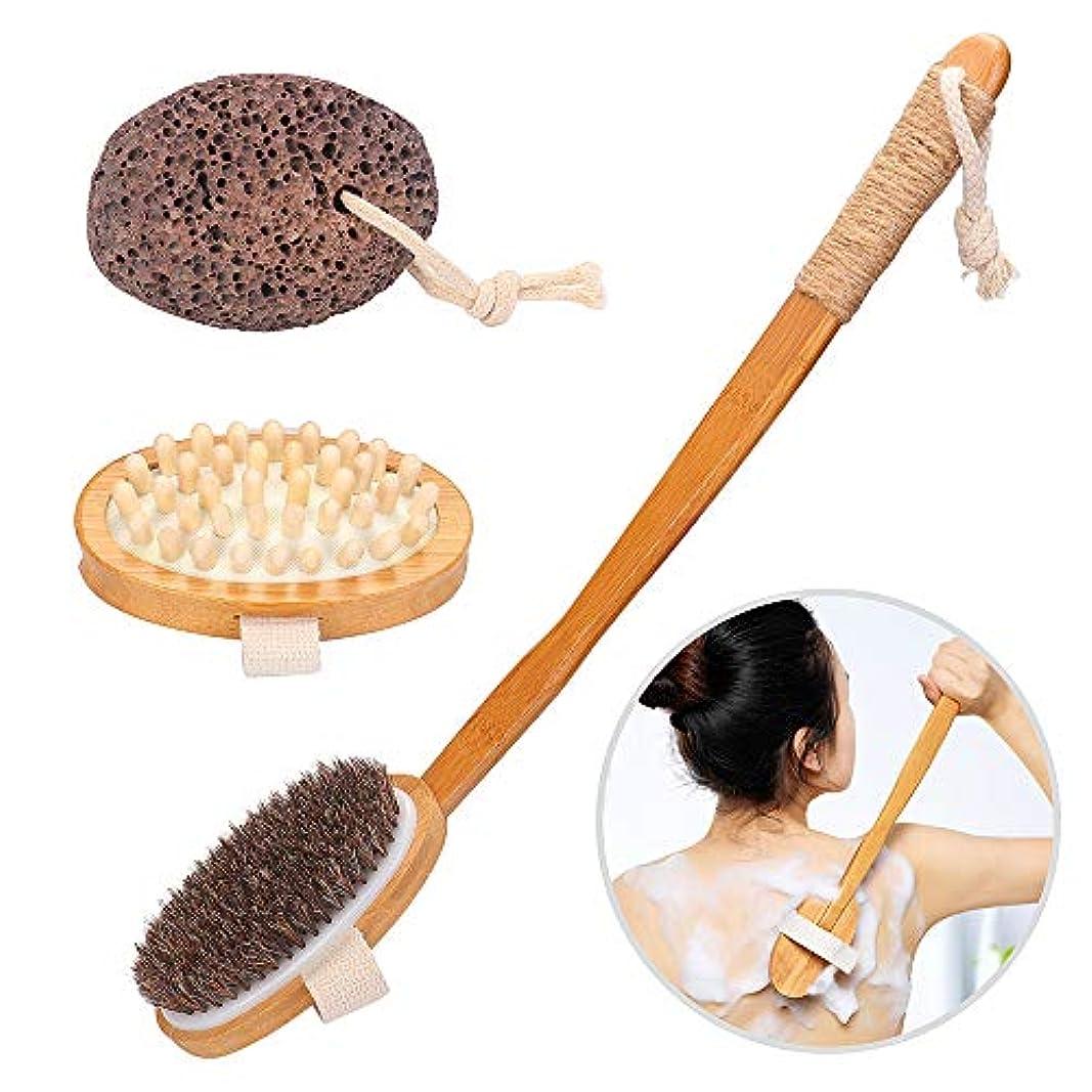 CGboom ボディブラシ 天然馬毛 背中ブラシ 血行促進 角質除去 ボディケアセット 竹製長柄 お風呂用