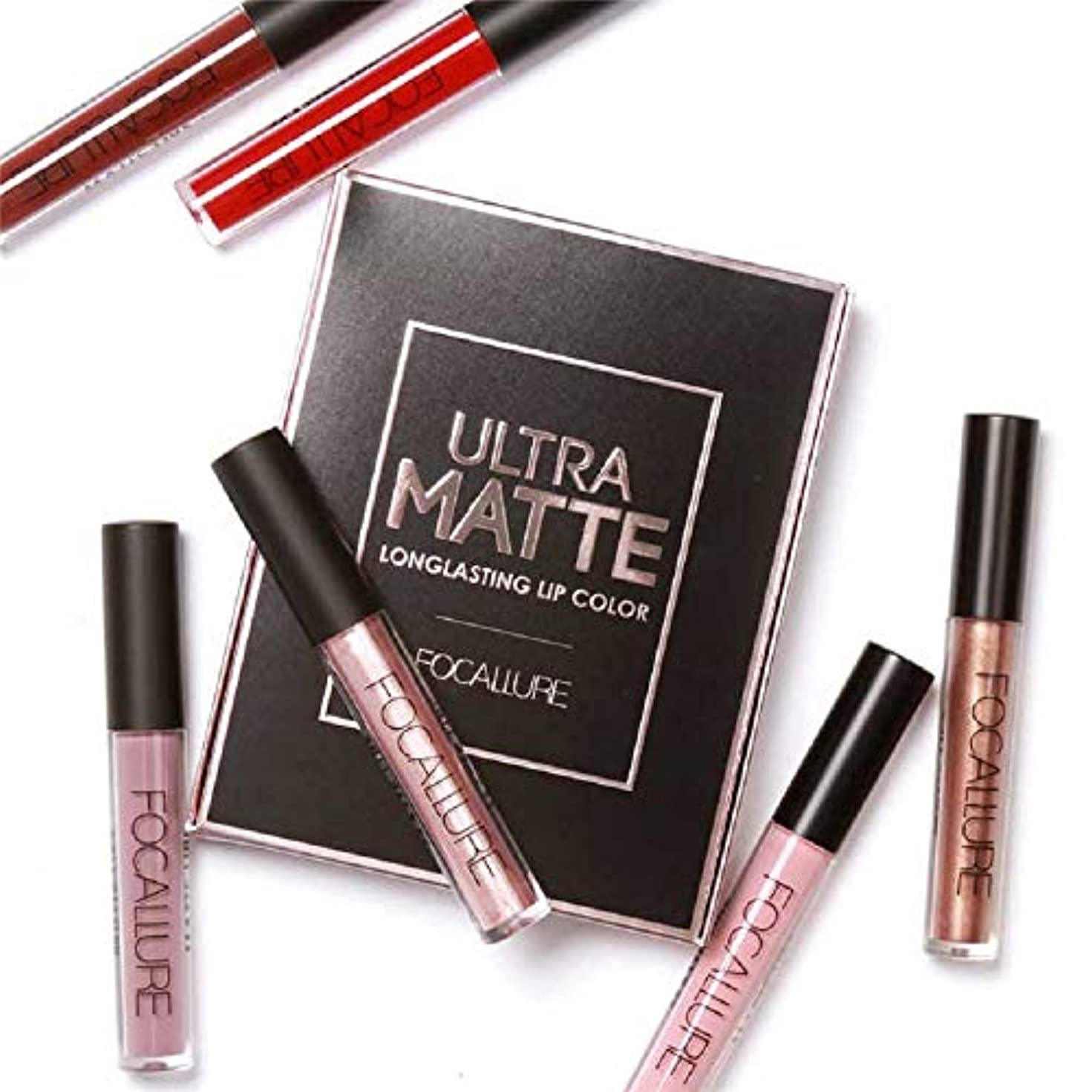 知る迷惑失礼な3Pcs/Set Long-lasting Lip Colors Makeup Waterproof Tint Lip Gloss Red Velvet Ultra Nude Matte Lipstick Set リップカラーメーキャップ...