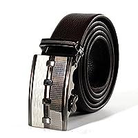 JIANFCR メンズベルト - 高級ビジネスベルト - 14のチェック柄の両面高級シンプルな自動バックルレザーベルト調節可能なサイズ43.3インチ - 49.2インチ (色 : Coffee1, サイズ : 110-125cm)