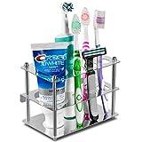 歯ブラシスタンド, Tintelek 歯ブラシホルダー歯磨き粉スタンド 置き型 掛ける可能(銀) (A-銀)