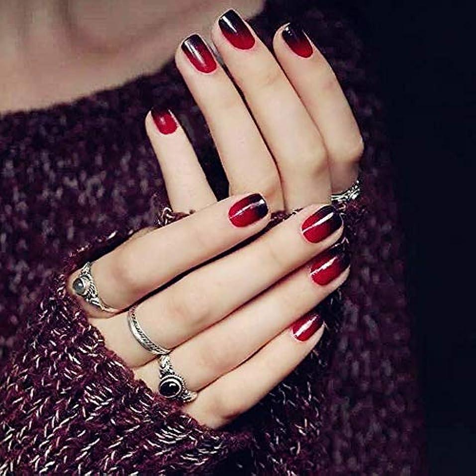 XUTXZKA 24本/セット偽の爪の色黒赤グラデーション短い段落フルカバーつけ爪アートのヒント