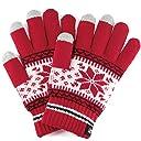 (トレリア) Trelia スマホ 手袋 レディース タッチパネル ニット グローブ 雪柄 ノルディック柄 防寒 あったか a111 (レッド)
