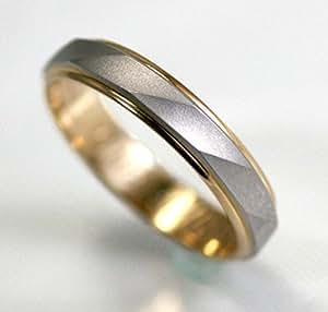 刻印無料 シンプル ハンドメイド マリッジ リング 結婚 指輪 PT900/K18 プラチナ ゴールド コンビ アンジュ 5号 [ジュエリー]