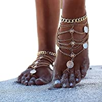 D-Pink 1 Pair Boho Vintage Silver Tone Coin Blessing Symbol Tassel Indian Anklets Foot Jewelry