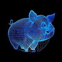 biutefang Night Light Cartoon Pig 3dライトカラフルなタッチリモートLEDライトVisual AtmosphereギフトLamps