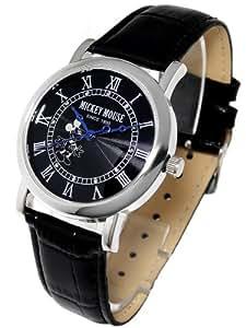 Disney ディズニー ノーブル ミッキー 腕時計 ブラックベルト×ブラック文字盤 本牛革 クロコ型押しベルト スワロフスキー ライセンス取得商品 黒   【並行輸入品】