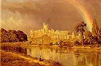 手描き-キャンバスの油絵 - Study Of Windsor Castle scenery Sanford Robinson Gifford 芸術 作品 洋画 ウォールアートデコレーション -サイズ07