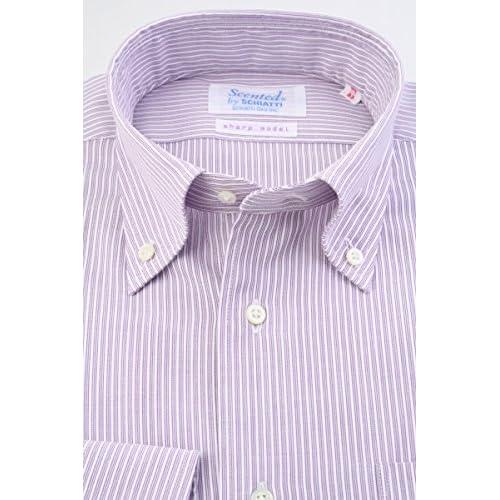 (スキャッティ) Scented パープル系 トリプルストライプ & 白 ドビーストライプ 綿100% ボタンダウン (細身) ドレスシャツ bd4153-4185