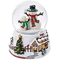 雪だるまペアSwirl雪100 mm樹脂クリスマスMusical Water Snow Globe Plays Deck the Halls
