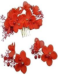髪飾り 和装にも 結婚式 ティアラ ヘッドアクセサリー フラワーヘッド 花冠 アクセサリー 花嫁 ウェディング ドレス コサージュ レッド ホワイト 2色あり