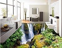 Wapel 壁画の 8 d 壁紙カスタム サイズ 3 D 床壁画居間浴室滝山の森林床の自己接着壁紙 300x210cm