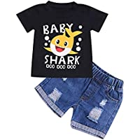 Baby Boy Summer Clothes Newborn Shark Doo Doo Print Cotton Sleeveless Outfits Set Tops and Short Pants Outfit Set