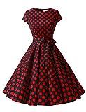 ドレッシースター 1956スイングワンピース レトロ ドレス 50年代 ロカビリー ベルト付き レディーズ ブラック レッド 大柄ドット Lサイズ