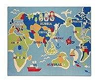 イケヒコ デスクカーペット ラグ 1畳 男の子 世界地図柄 『ワールド』 ブルー 約110×133cm