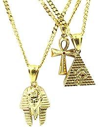 Pharaoh +ピラミッド+ ankh Microチェーンセット18 Kゴールドメッキピースミニチャームペンダントネックレス