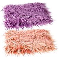 Baoblaze ベビー用 ブランケット 全2色 写真小道具 毛布 敷物 2個セット 赤ちゃん 新生児  - パープル+ピンク