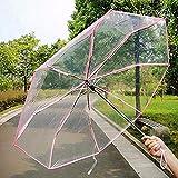 閉じる閉じる折りたたみ傘コンパクトな防風雨透明な透明な傘(ピンク)