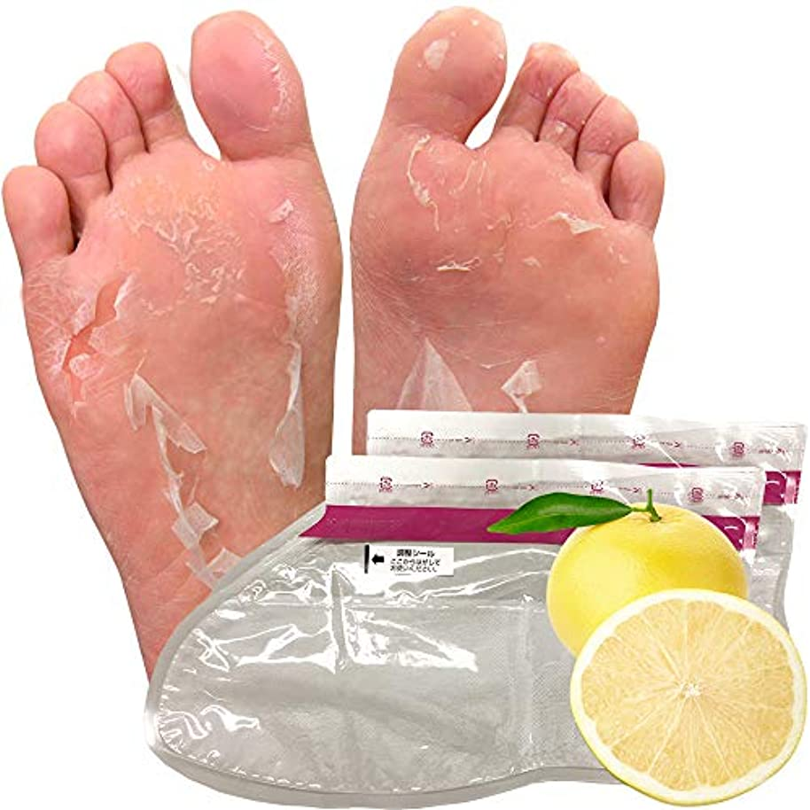 みぞれ傾向がある寝室を掃除する【5回分】グレープフルーツ フットピーリングパック ペロリン 去角质足 足膜 足の裏 足ぱっく