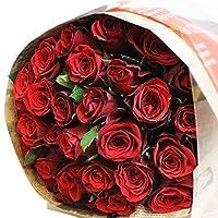 [エルフルール] 真紅のバラの花束 30本 カラー:レッド 結婚記念日 プレゼント 薔薇 誕生日祝い 贈り物 母の日 花