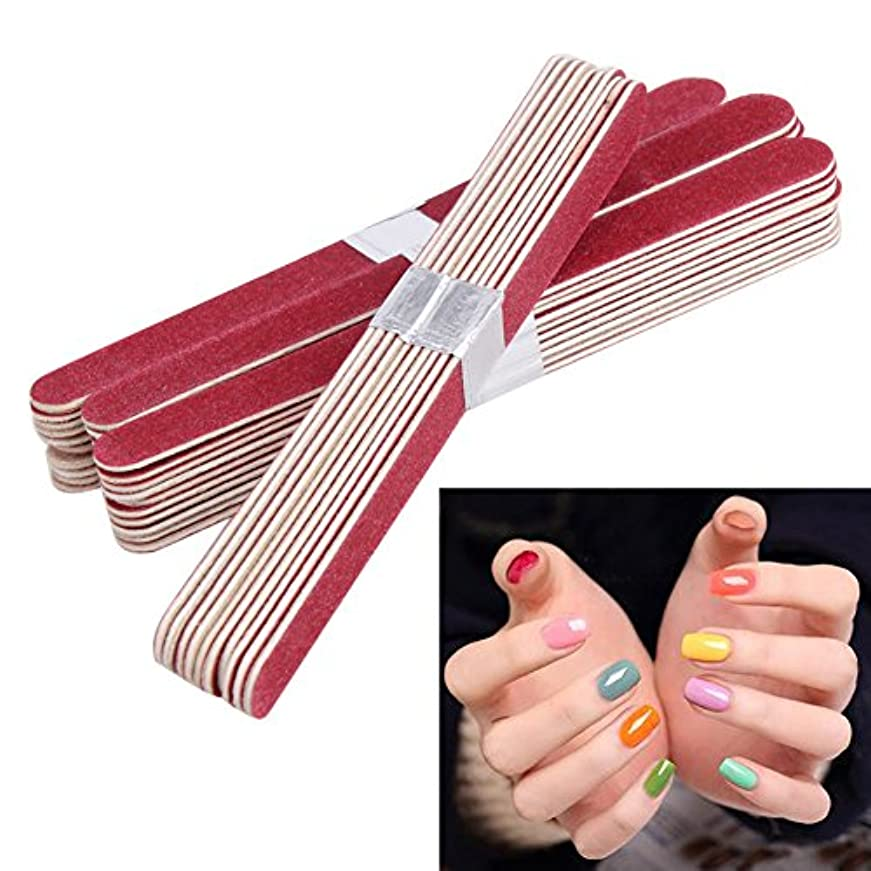手荷物偽物死Kingsie ネイルファイル 40本セット 赤 ウッド エメリーボード 爪やすり 爪磨き ネイルケアセット