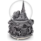 Paris Snow Globe with Colour Changing LED Lights, Eiffel Tower Musical Snow Globe with Merry-go-round Base, 15cm Tall Souvenirs Collection