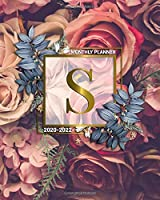 2020-2022 Monthly Planner: Initial Monogram Letter S Three Year Organizer with 36 Months Spread View - Nifty 3 Year Calendar, Agenda, Journal & Business Schedule Notebook - Gold Red Roses Floral Print
