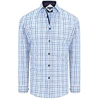 Tarocash Men's Central Slim Check Shirt Slim Fit Long Sleeve Sizes XS-5XL for Going Out Smart Occasionwear Blue