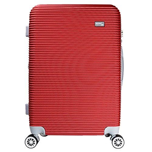 【バギング】 BAGING 軽量 拡張ファスナー付き S,M,Lサイズ スーツケース キャリーバッグ 8輪キャスター TSAロック付き (Mサイズ(3-5泊用 55/65L), ワイン)