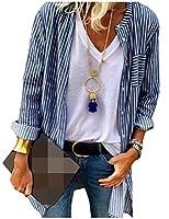 Candiyer 女性ストライププリントロングスリーブシングルは、オープンフロントアウトシャツを Blue XS