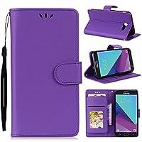 Samsung Galaxy J5 2017 (US Version) Case, Premium PU Leather Wallet Pouch Flip Cover Case Anti-Scratch Defender Coverケーススリム For Samsung Galaxy J5 2017 (US Version) (Purple)