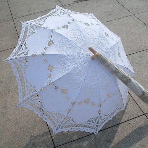 ホワイト&ベージュ刺繍レースの傘日傘結婚式のブライダルパラソ...