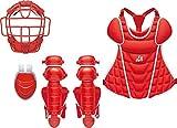 ZETT(ゼット) ソフトボール 防具 4点セット BL518 レッド×シルバー(6413)