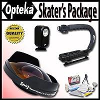 OptekaデラックスSkaters」パッケージ( Includes the Opteka 0.3X Ultra Fisheyeレンズ、x-gripハンドル& vl-20LEDビデオライトfor Sony hdr-ax2000、fx1000、hvr-z5u、z7uおよびhxr-nx5uビデオカメラ