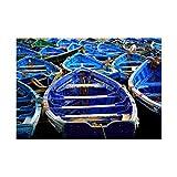 フォトモロッコブルー海釣りボートFramed Print f12X 4092 12-Inches x 16-Inches F12X4092_Print only_Unframed