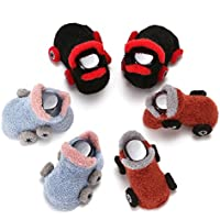 Coolpay Baby Cute Cotton Winter Socks,Cartoon Car Design Anti-Slip Socking for Unisex Baby Toddler Kids,Perfect for Baby Learn To Walk (0-4 Years Old, 3 Pairs)