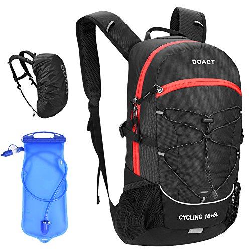 登山リュック Doact ハイキング バックパック 23L サイクリングバックパック 登山バッグ 軽量 徒歩 アウトドア 旅行用 2L給水袋 防水 リュックカバー 多機能バッグ メンズ レディース ブラック