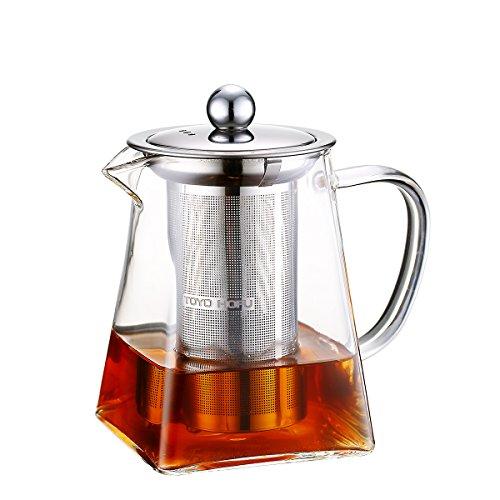 ティーポット 耐熱ガラス 304ステンレス鋼茶こし付き 600ml かわいい 急須 ガラス 緑茶 紅茶ポット 直火用 ティーウォーマー・ラジエントヒーター対応 2~3人用