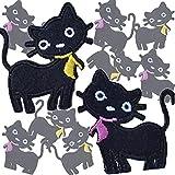 10枚セット くろねこ かわいい ワッペン セット 動物 アイロンワッペン ≪ ねこ くろねこ 入園準備 (黒猫(黄リボン5)+(ピンクリボン5)) [並行輸入品]
