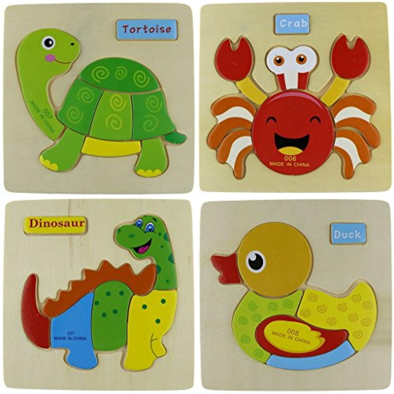 sumperth木製動物パズル組み立て木製Tortoiseクラブ恐竜Duck子供キッズおもちゃ