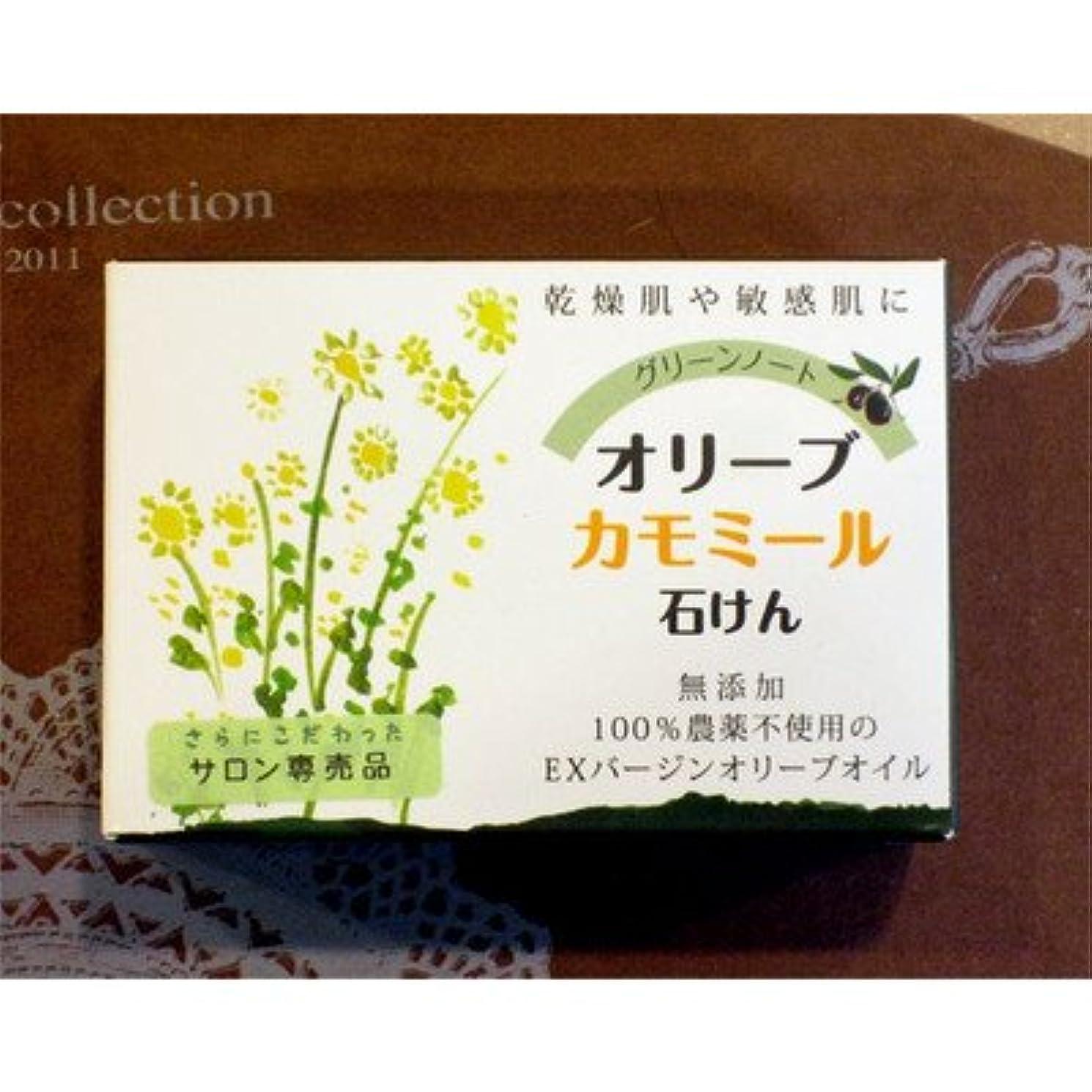 簡潔なモード回るグリーンノート オーガニック ハーブ ソープ 無農薬 無添加 オリーブ カモミール 石鹸 100g
