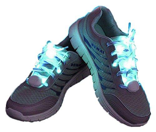 夜 の ランニング に 最適 LED 搭載 光る 魔法 の 靴ひも 靴紐 左右 セット 【 ブルー ...