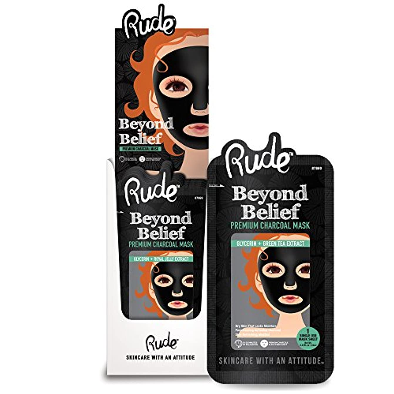 RUDE Beyond Belief Purifying Charcoal Mask Display Set, 36 Pieces (並行輸入品)