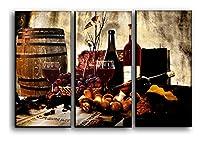 キャンバスPicture withガラスワインの赤とBakery forキッチン装飾–Still Lifeキッチン装飾テーマセットペイントポスター印刷モダンアート 22x33 inches レッド