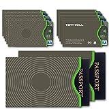 Tenn Well RFIDスリーブ, スキミング防止カードケース 10枚カード 2枚パスポートスリーブ入れ グレー