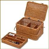 2009-BR 籐 かご バスケット 裁縫箱 ソーイングボックス ハンドル ふた付き 仕切り付き