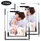 JUOIFIP 2 Pack 8x10 Picture Frames Sparkle Glass Photo Frame for Photo Display Stand on Tabletop