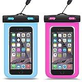 『2枚入』iPhone7 plus 防水ケース HEYSTOPスマホ防水ケース 携帯カバー ポーチ 袋 透明パック iPhoneとAndroid 6インチ以下全機種対応 ネックストラップ付属 IPX8認定 お風呂 海 ダイビング 温泉 水泳 お釣りなど適 iPhone7/6/6s/5/5s/Xperiaなどに対応 最大6インチiphone7 plus/6 plus等 (ブルー+ローズレッド)