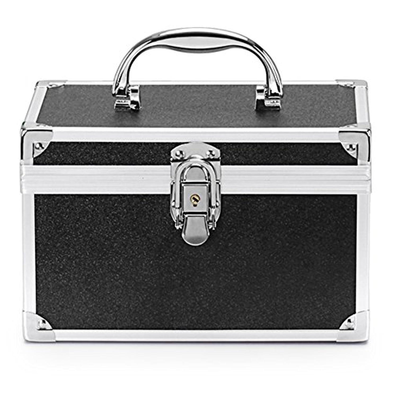 豆腐暫定のプレゼンメイクボックス 人気 コスメボックス 鏡付き 大容量 かわいい アルミ化粧ボックス プロ 持ち運び (L, ブラック)